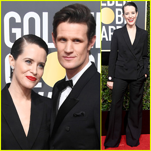 Claire Foy Rocks Black Pantsuit at Golden Globes 2018 with Matt Smith