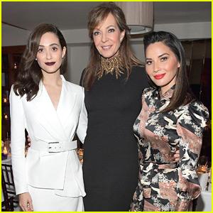 Emmy Rossum & Olivia Munn Join Allison Janney at Opening of Stuart Weitzman's Boutique