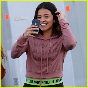 Gina Rodriguez Makes a Phone Call on 'Law & Order: SVU' Set