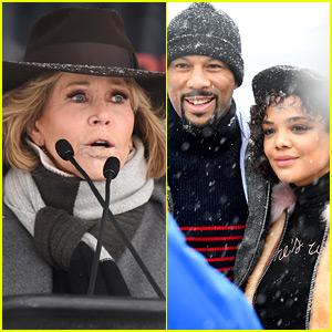 Jane Fonda & Tessa Thompson Lead the Women's March Rally at Sundance 2018!