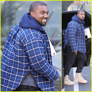 Kanye West Arrives at the Studio With a Smile!