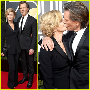 Kevin Bacon & Wife Kyra Sedgwick Share a Smooch at Golden Globes 2018