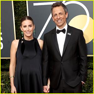 Host Seth Meyers & Pregnant Wife Alexi Ashe Walk Golden Globes 2018 Red Carpet!