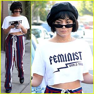 Vanessa Hudgens Dons Stripes & 'Feminist World Tour' Tee