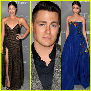 Gina Rodriguez, Colton Haynes, & Sarah Hyland Step Out in Style for Costume Designer Awards