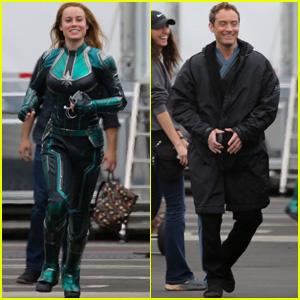 Brie Larson Runs to Meet Jude Law on 'Captain Marvel' Set!