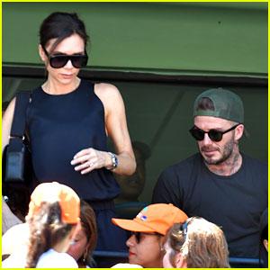 David & Victoria Beckham Watch a Tennis Match on Easter Sunday