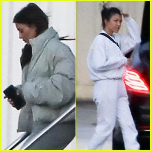 Kim & Kourtney Kardashian Arrive Home After Visiting Khloe in Cleveland