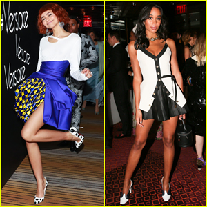 Zendaya & Laura Harrier Show Off Their Legs at Versace Met Gala 2018 After Party!