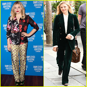 Chloe Moretz Sports Fun Prints at 'Come As You Are' Champs Elysees Film Festival Premiere