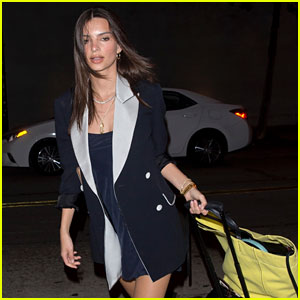 Emily Ratajkowski Brings Her Suitcase to Dinner Before a Flight