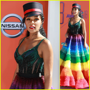 Janelle Monae Shows Her Pride in a Rainbow Dress at BET Awards 2018!