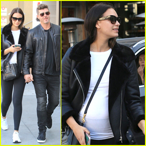 Robin Thicke's Girlfriend April Love Geary Shows Off Growing Baby Bump in Beverly Hills!