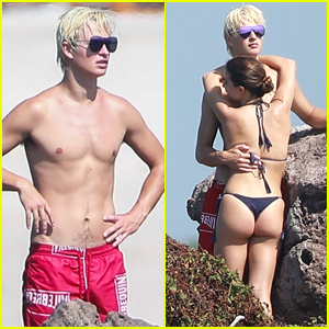 Ansel Elgort & Violetta Komyshan Share Some PDA During Beach Vacation