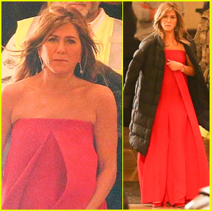 Jennifer Aniston Wears Red Gown on Set of 'Top of the Morning' Apple Show!