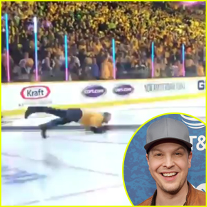 Gavin DeGraw Wipes Out on Ice After Singing 'National Anthem' at Hockey Game - Watch!