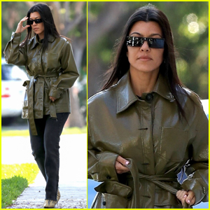 Kourtney Kardashian Sports Chic Leather Trenchcoat for Afternoon Outing