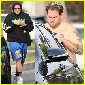 Jonah Hill Shows Off His Tattoos While Doing a Quick Change After a Workout