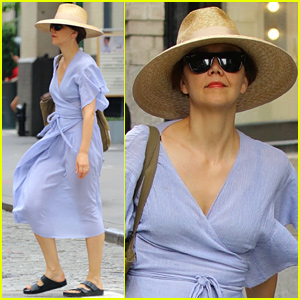 Maggie Gyllenhaal Dons Purple Dress for Lunch at NYC's Balthazar