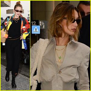 Bella and Gigi Hadid Jet Out of Milan & Head To Paris Fashion Week