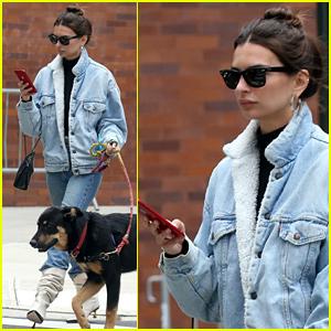 Emily Ratajkowski Dons Double Denim & White Boots While Walking Her Dog