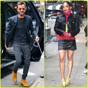 Justin Theroux & Tessa Thompson Team Up in NYC for 'Lady and the Tramp'!