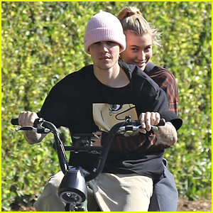 Justin & Hailey Bieber Ride a Bike Around The Neighborhood