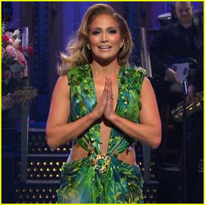 Jennifer Lopez Re-Wears Iconic Green Versace Dress for 'SNL' Monologue - Watch!