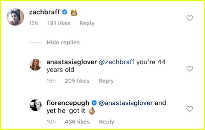 Florence Pugh Claps Back After Criticism Of Her & Zach Braff's Age Gap