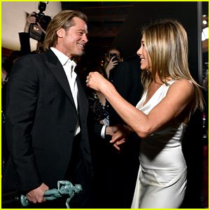 Jennifer Aniston Reacts to Brad Pitt Joking About Not Getting 'On With His Wife' at SAG Awards 2020
