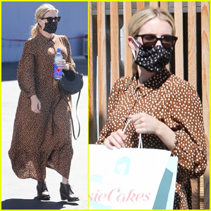 Emma Roberts Covers Up Her Baby Bump While Visiting a Bakery
