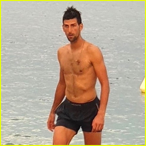 Tennis Star Novak Djokovic Trains Shirtless at the Beach