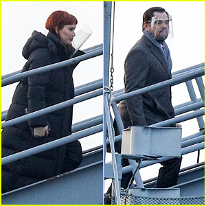 Jennifer Lawrence & Leonardo DiCaprio Board a Naval Battleship for 'Don't Look Up' Movie