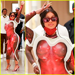 Cardi B's Red Semi-Sheer Dress Is Turning Heads During Shopping Trip at Bottega Veneta!