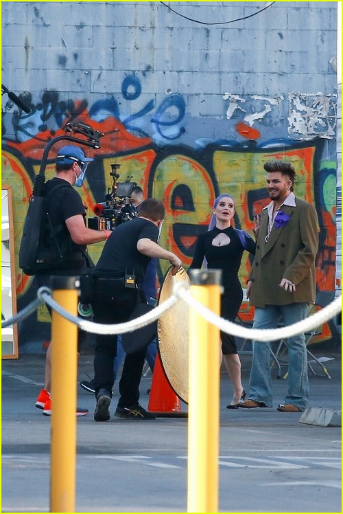 Kelly Osbourne and Adam Lambert on the set of new TV pilot