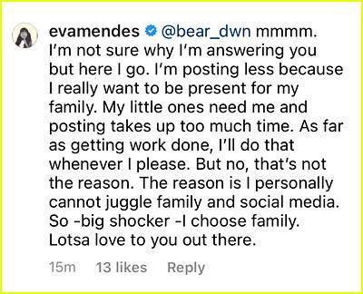 Eva Mendes responds to Instagram comment