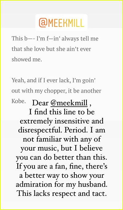 Vanessa Bryant statement on Meek Mill song