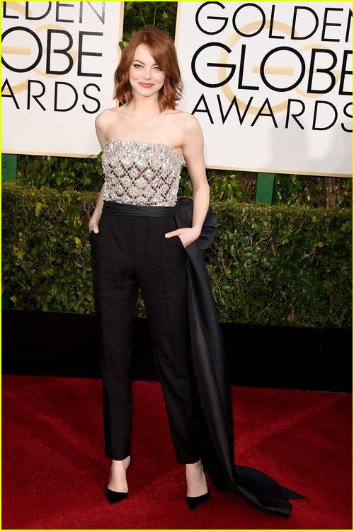 Emma Stone on Golden Globes red carpet