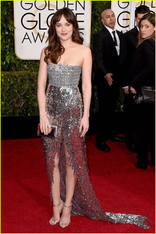 Dakota Johnson on Golden Globes red carpet