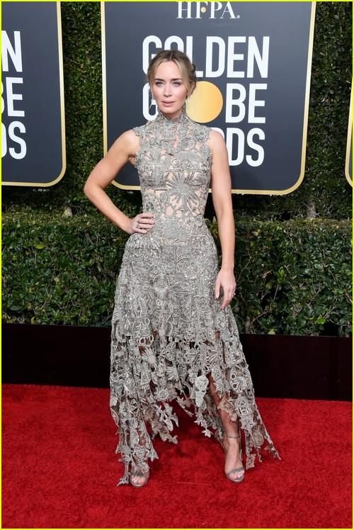 Emily Blunt on Golden Globes red carpet