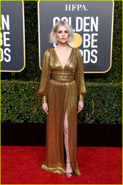 Lucy Boynton on Golden Globes red carpet