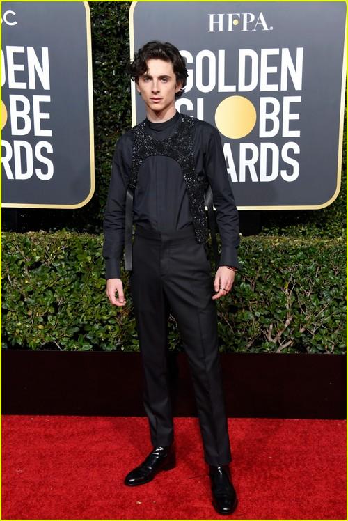 Timothee Chalamet on Golden Globes red carpet