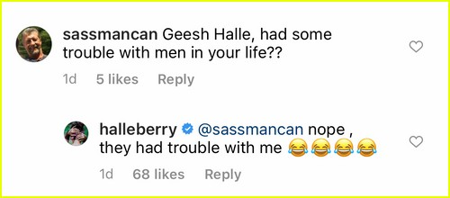 Halle Berry responds to Instagram follower
