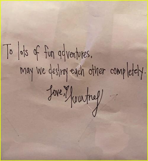 Kourtney Kardashian love note for Travis Barker