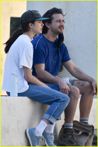 Margaret Qualley and Shia LaBeouf candid photo