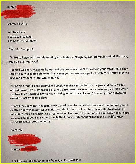 Ryan Reynolds fan letter