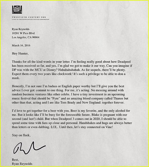Ryan Reynolds fan letter response
