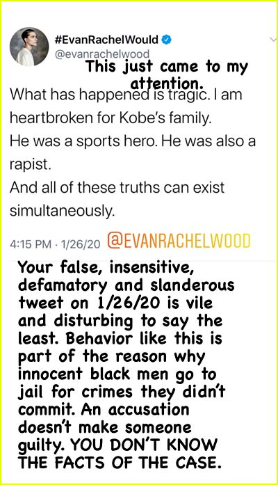 Vanessa Bryant calls out Evan Rachel Wood