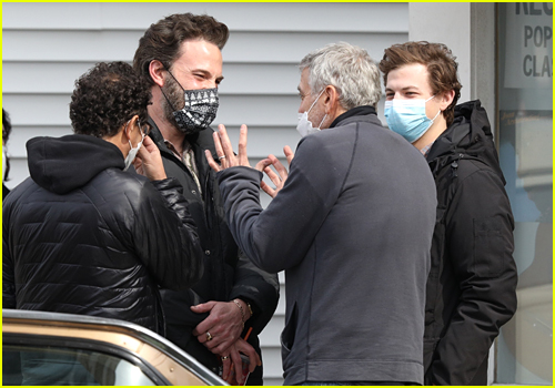Ben Affleck, Tye Sheridan and George Clooney on The Tender Bar set