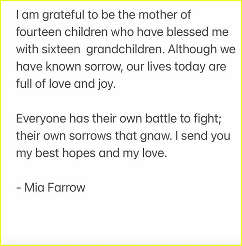 Mia Farrow statement